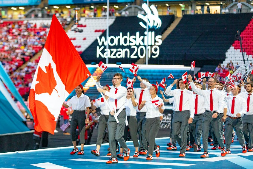 Justin Buchanan from Knutsford, P.E.I. leads the Canadian delegation into the opening ceremonies for the World Skills Competition in Kazan, Russia. Buchanan competed in 3-D Digital Game Art. Amy Buchanan photo/