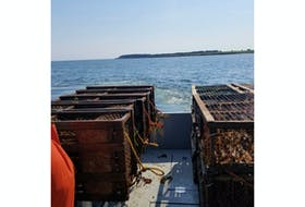Lobster traps are piled on a Fisheries and Oceans Canada vessel during a joint gear retrieval exercise between Lobster Fishing Area 24 fishers and DFO personnel on July 5. The exercise ended the 'ghost fishing' days of 59 lobster traps and one gill net.