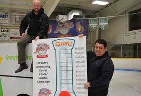 O'Leary Community Sports Centre president Wade Sweet, left, and O'Leary Recreation Director Andrew Avery display the fundraising goal of a capital campaign launched Friday.  A renovations committee is hoping to convert a $100,000 Hockeyville prize into a $1.7 million renovation project at the 30-year-old facility. The $550,000 campaign includes the Hockeyville prize money.
