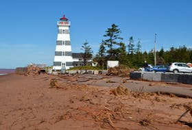Beachfront by West Point Lighthouse following the September storm surge generated by post-tropical storm Dorian.