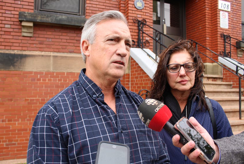 James and Pierrette Sloan speak with reporters outside the Summerside Courthouse Wednesday afternoon. The man who struck and killed Pierrette's sister with a car in Kildare Capes last year is facing a two-year federal prison sentence.