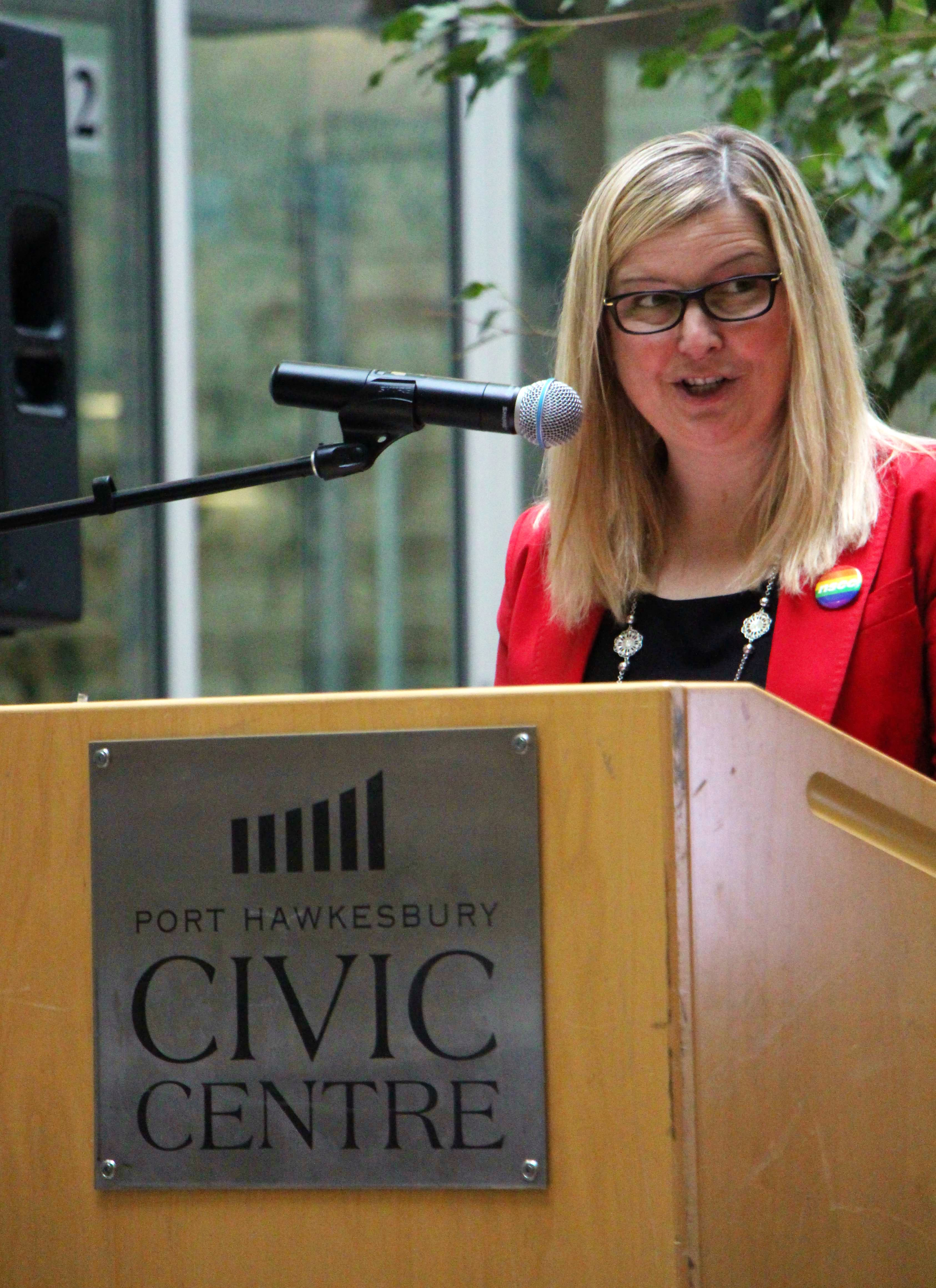 Town of Port Hawkesbury Mayor Brenda Chisholm-Beaton addresses those on-hand Sept. 24 for a funding announcement regarding an off-road connector trail from the Nova Scotia Community College Strait Area Campus to Pitt Street, which is a component of the overall project.