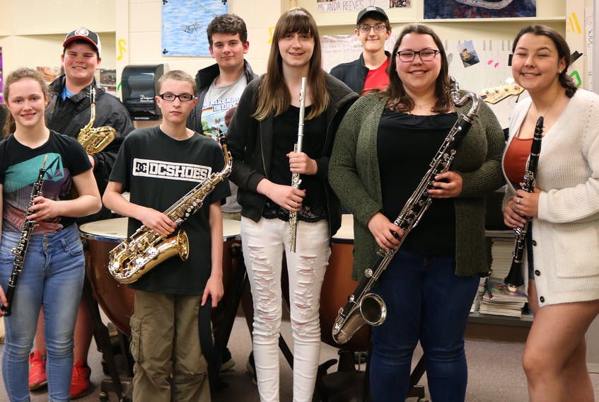 Kensington Intermediate Senior High band students recently brought home some hardware from the Atlantic Festival of Music which was held in Ontario. What's more, four pairs of siblings were part of the winning concert and jazz bands. From left are Kaitlynn McKenna, Brandon Moase, Kalev DesRoches, Dylan Moase, Emilie Reilly, Joseph Reilly, Chloe Greenan and Lily Greenan. Missing from photo is Caleb McKenna.