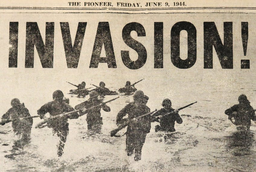 The June 9, 1944 issue of The Pioneer featured extensive coverage of the D-Day landings that took place in France three days prior to the paper's weekly publication date. The back page of the paper featured photos of the invasion and new correspondence from the front lines.