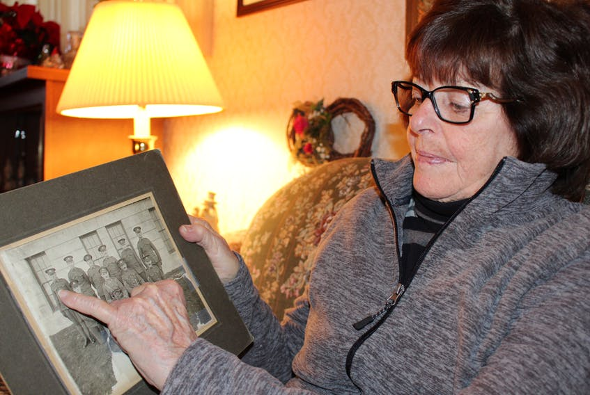 Barbara Schurman points out her father, Wally Bannister, who was docked in the Halifax harbour, days before the explosion of 1917.