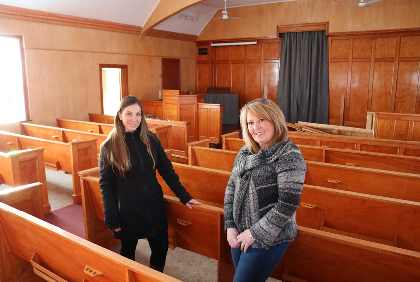 Laurel Palmer-Thompson, left, and Barb Wood, members of the Borden Area Development Corporation, and town councillors, are excited the BADC has taken on the project of turning the old Borden United Church into a musical hall and cultural centre.