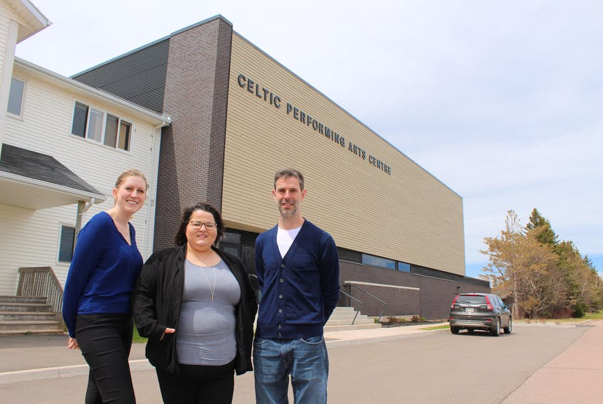 Jennifer Campbell, executive director of the College of Piping and Celtic Performing Arts of Canada., left, with Reasha Walsh, executive director of Spotlight School of Arts Inc. and James MacHattie, director of education at the college.