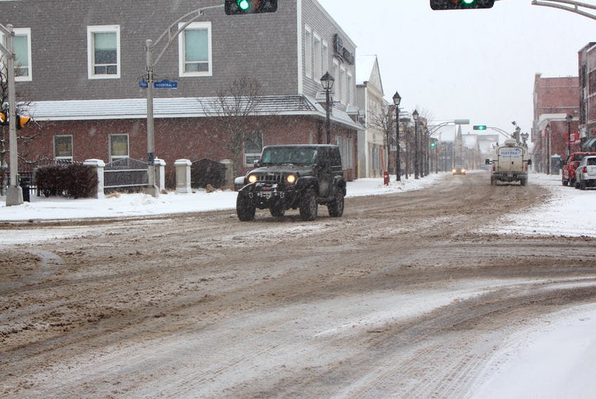 The roads gathered snow quickly in downtown Summerside on Thursday, Jan. 4, but some drivers braved the region's first winter storm of 2018, which brought 15 to 25 centimetres to the province. P.E.I. is preparing for its next winter blast this weekend.