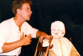 """Daniel Bourgeois and Mémé (Ella Arsenault) in 1985 playing in the first dinner theatre """"La Cuisine à Mémé"""" at the Étoile de Mer Restaurant in Mont-Carmel. Submitted by the Acadian Museum"""