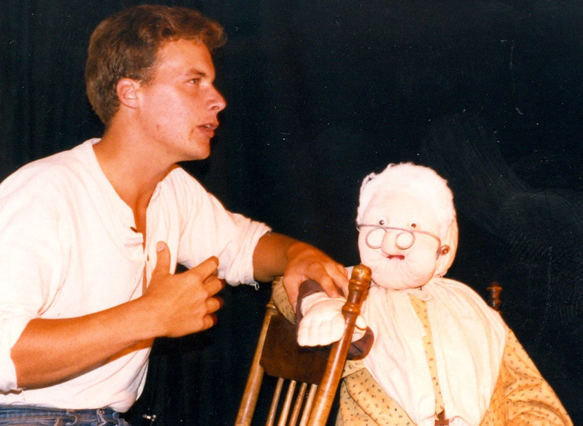 """Daniel Bourgeois and Mémé (Ella Arsenault) in 1985 playing in the first dinner theatre """"La Cuisine à Mémé"""" at the Étoile de Mer Restaurant in Mont-Carmel. Submitted by the Acadian Museum - Contributed"""