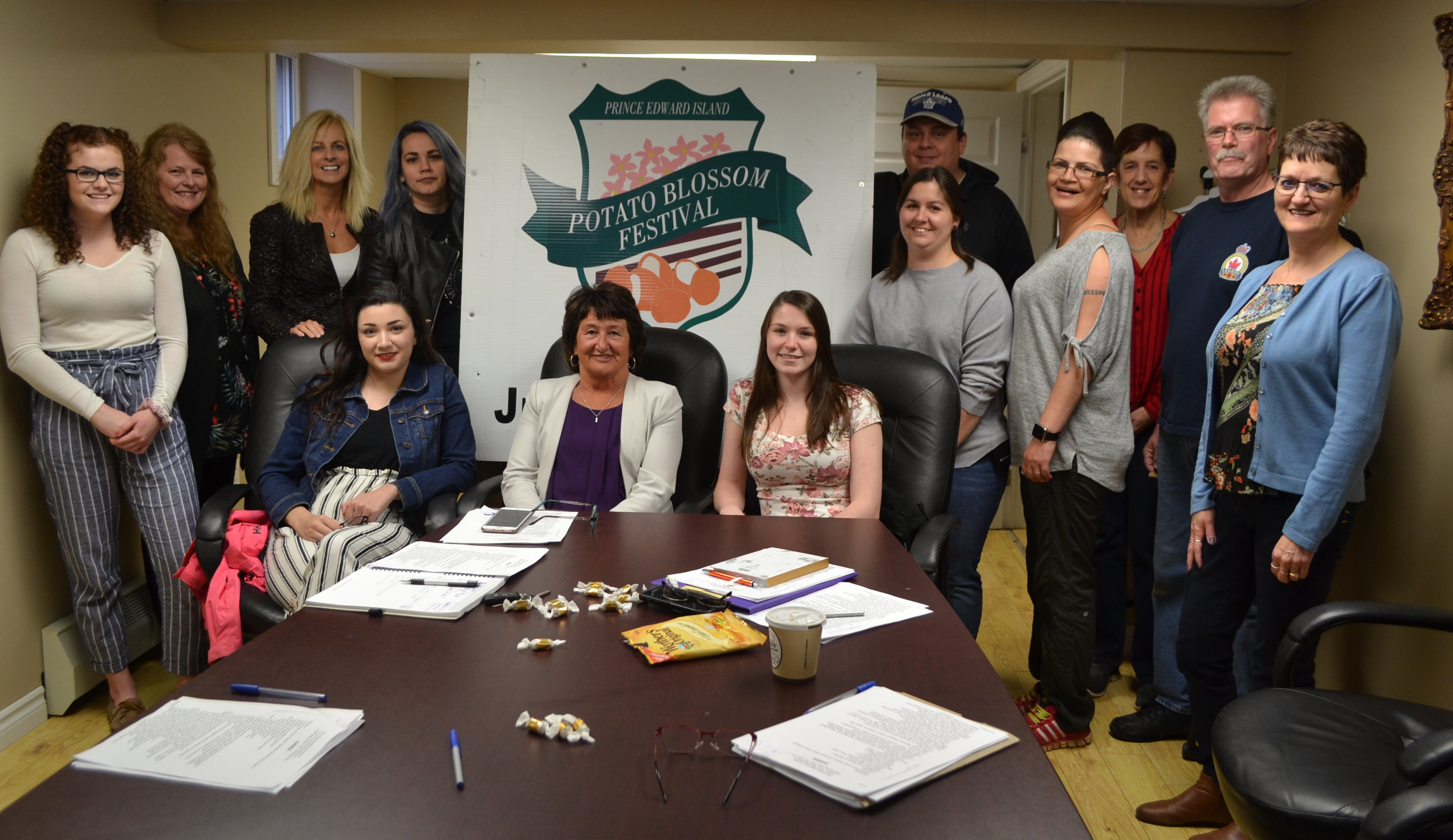 Helping with the planning for the 51st annual P.E.I. Potato Blossom Festival are, seated from left, Olivia Collicutt, Faye MacWilliams, Jessica Howard; standing, Breanna Rayner, Trish Child, Carol Ferguson, Tasha Maynard, Valene Gallant, Andrew Avery, Tracy Sweet, Eileen Conway-Martin, Grant Gay and Edna Gallant.