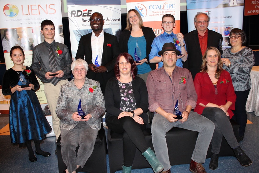 The winners from the 2018 Acadian Entrepreneurs' Gala, hosted by the Acadian and Francophone Chamber of Commerce of P.E.I., are: seated, from left, Jeannette Arsenault (2018 Distinguished Entrepreneur), Emmanuelle LeBlanc, Pascal Miousse and Pastelle LeBlanc from the group Vishten (2018 President's Award of Excellence); standing, from left, Isabelle Fisk and Nicholas Sauvé (2017 Young Millionaires), Gideon Banahene (2018 Immigrant Entrepreneur), Ghislaine Cormier (2018 Business Personality), Jérémie Buote (2018 Enterprising Youth) and
