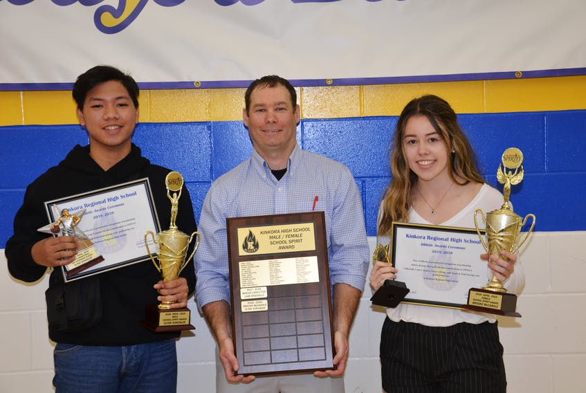 Kinkora Regional High School Athletic director Trent Ranahan, centre, presents the School Spirit Awards to Clyde Gonzales and Brooke McCardle. The presentations took part during the Blazer Awards Blitz on Thursday.