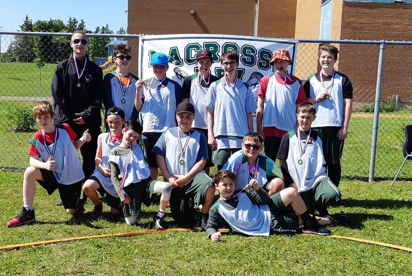 The Under-13 Summerside Lacrosse Club defeated host Cornwall 5-2 to win the provincial championship recently. Summerside team members are front row, from left: Asa Lye, Noah Lynch (captain), Brian Agnew, Gavin O'Keefe, Regan Inman, Riley MacAusland and Landon Laughlin. Back row: Skyler Hardwick (coach), Isaac MacLean (captain), Karli Snow, Deacon Wagner (captain), Griffin Lecky, Zachary Ellis and Ethan Reeves (captain).