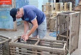 ['Miminegash lobster fisherman Darren Ellsworth replaces the sizzle twine on his lobster traps in preparation for a new lobster fishing season. While his lobster traps will last for approximately seven years, the sizzle twine is a built-in safety and conservation feature to prevent ghost-fishing. The biodegradable twine is designed to fail within a year so that lobsters that get into a lost trap will be able to escape. Fall lobster fishermen in Prince Edward Island's Lobster Fishing Area 25 will set their gear on August 8. Many of them have already started hauling gear to south side wharves.']