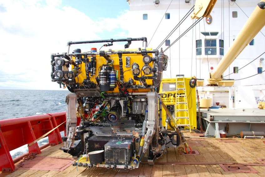 The BC-based ROPOS (Remotely Operated Platform for Ocean Science) that was used during a recent Oceans Canada and Department of Fisheries and Oceans expedition in the Gulf of St. Lawrence.