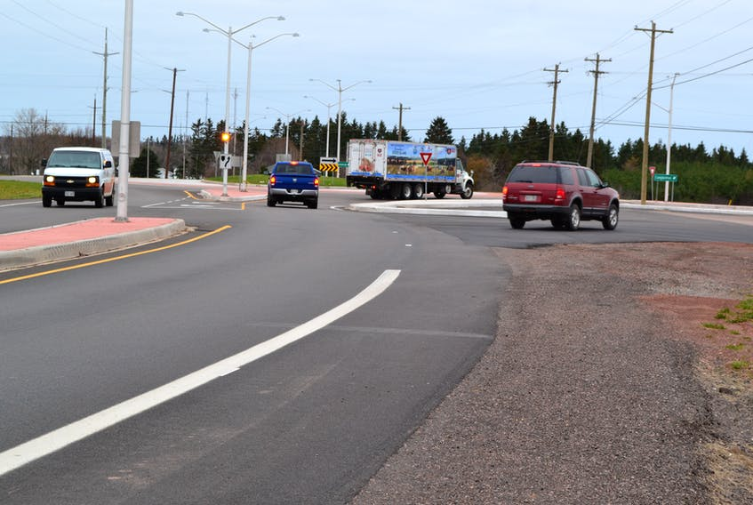 An Alberton Town councillor believes the break in the highway marking at the western approach to the Bloomfield Corner roundabout makes the roundabout dangerous, especially for motorists unfamiliar with the area.
