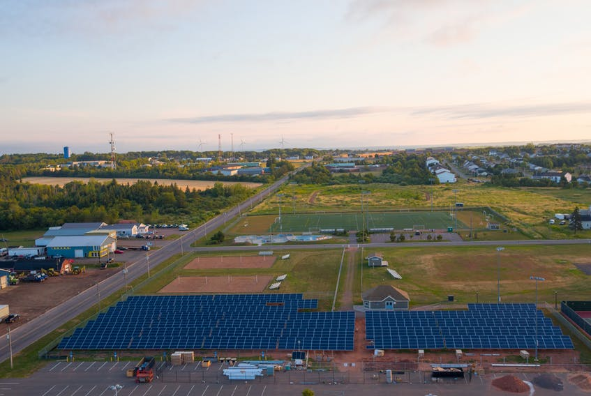 Photo submitted by Higher Design Inc.  Summerside has installed 1,404 solar panels on mounts outside CUP, with an additional 144 panels on special stands to allow cars to park underneath them. The panels power a battery, which in turn helps offset peak energy consumption at CUP.