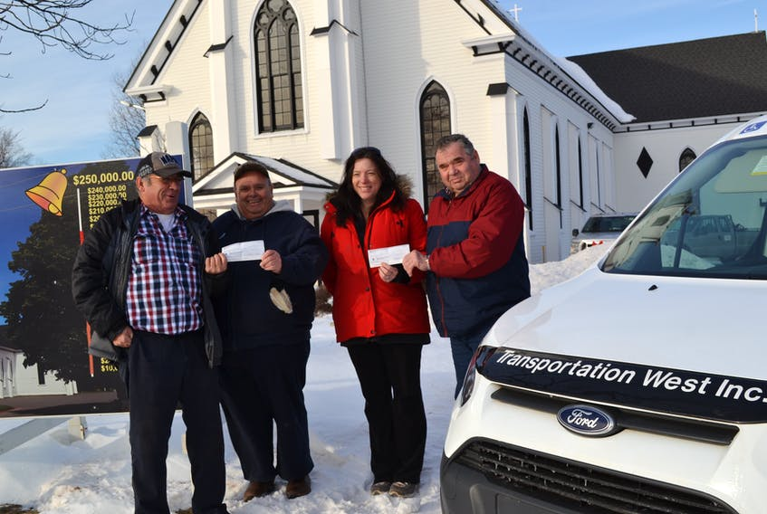 Preston Murphy, left, founder of the free Christmas Day meal held annually at St. Anthony's parish hall, distributes the meal's donation box contents. Dennis Gallant, on behalf of St. Anthony's Parish Church restoration Fund, accepts a cheque for $1,000 and Transportation West coordinator, Sherry Tremblay and driver Richard Blanchard accept $1,000 for their organization.