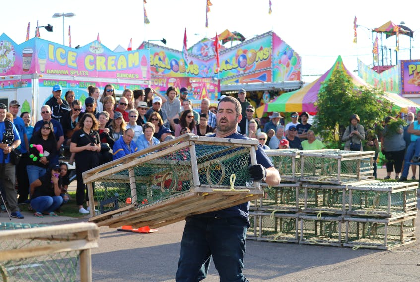 Thirteen participants vied for the first prize of $1,000 in the Journal Pioneer Lobster Trap Stacking competition.