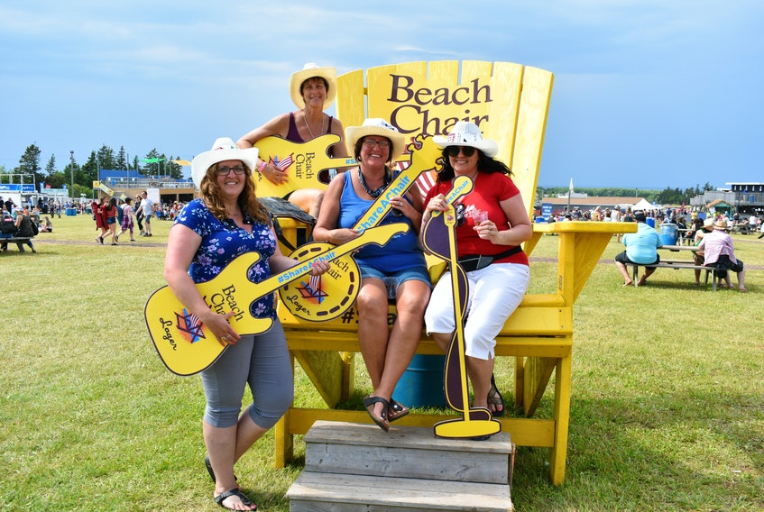 Monique Matthews, from the left, Sonia Marchand, Rose Marie Marchand, and Pam Marchand came from Cape Breton to enjoy the lively three-day festival.