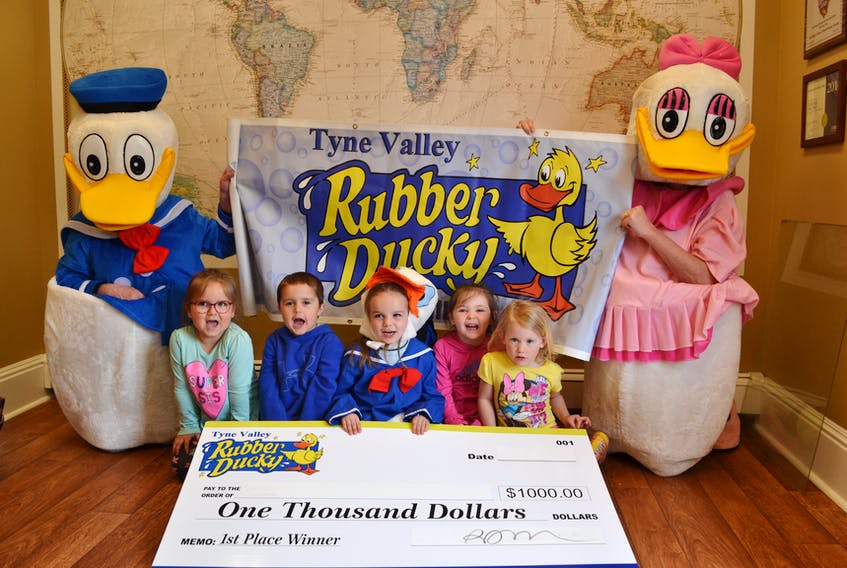 Momma and Poppa duck and their brood of, from left, Vayda Robinson, Carter Annand, Emie Darrach, Ellie Lynch and Sandy MacCaull are getting ready for Tyne Valley's seventh annual Rubber Ducky Day this Sunday. There's fun for the whole family and a $1,000 cash prize up for grabs by the winner of the rubber ducky race.