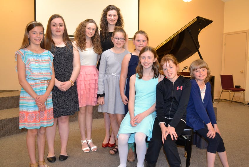 Representatives from the West Prince Music festival who will perform at the provincial music festival are, from left, MaryAnne Gard, junior piano; Meredith Rix, senior piano; Selena Gaudette, intermediate piano; Madeleine Gaudette, advanced piano; Ava Perry, junior musical theatre; Adele Raynor, junior vocals; the Ellerslie Elementary School two-part chorus, including Raynor, Lacey Culleton, Kristin Wilson and Beretta Boyd and, missing, Muireann McGuire, junior musical theatre and Rebekah Brown, senior vocal solo and senior musical theatre.
