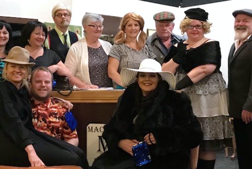 Ready for opening night of The Tyne Valley Players' presentation of the farce comedy, The Blue Bag are, back row from left, Cindy Gorrill, Pam MacKinnon, Mike Ford, Marie Barlow, Lisa MacDougall, Steven Ellis, Tracey Lauzon, Terry Doran; front row, Janeen Grigg, Adam MacLennan and Lisa Fitzgerald. There will be 10 performances at Britannia Hall from May 20 to June 1.