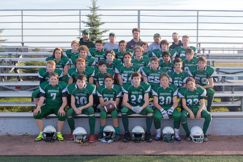 The Summerside Waterwise Spartans will face the Cornwall Timberwolves in the Ed Hilton Bowl at Eric Johnston Field in Summerside on Saturday. The Papa John's P.E.I. Bantam Tackle Football League championship game will begin at noon. Members of the Spartans are, front row, from left: Riley Molyneaux, Aaron Carr, Zachary Blood, Shawn Aiken, Luke Quinlan and Brayden Pike. Second row: Drew Drummond, Kieran Arsenault, Anderson MacDougall, Breton Brown , Charlie McBean, Bradley McCourt and Connor Murphy. Third row: Jayden Ryder-Clements, Paul Wamboldt, Ryan Lawless, Logan Rogers, Arman Singh and Ben Murphy. Fourth row: Parker Fisher, Shawn Matheson, Ethan Haakman, Daniel Tamtom, Nathan Enman and Aiden Little. Back row: Brian Goguen (offensive coach), Logan Plant (head coach), Alex Rose (defensive coach), Ken Blood (special teams coach) and Paul Quinlan (defensive coach). Missing from photo are Michael Friesen, Cameron Milligan and Kale Wood.