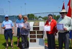 The 2018 Legends Field Honour Roll inductees were recognized at Queen Elizabeth Park in Summerside on Saturday. From left: Grant Grady; Chuck Grady, representing his father, the late Bennie Grady; Lillian Keller, representing her brother, the late Maurice Cannon; Alyre Gallant, representing his son, the late Paul D. Gallant, and George Dalton, representing the late Frank Oatway.