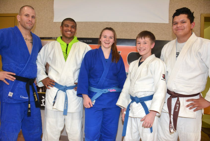 Summerside's Toshidokan Judo Club (TJC) is sending three members to the Elite 8 – national championships in Montreal this weekend. From left: Chris Townsend, head sensei at TJC, George Madumba, Ellen Gillis, Mikey Perry and Sebastian Nash. Perry is a member of Charlottetown's Rikidokan Judo and Martial Arts, who also occasionally trains in Summerside. He is also on Team P.E.I. for Elite 8.