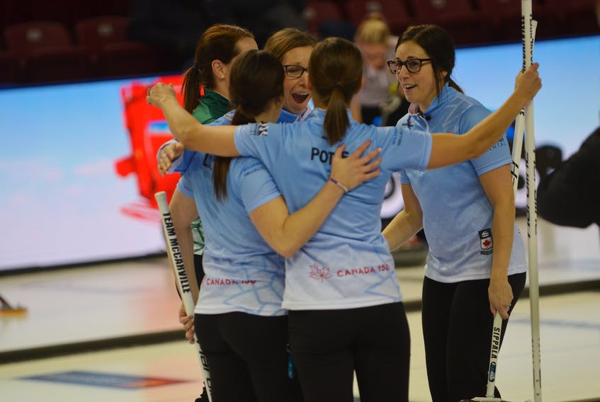 The Krista McCarville rink is all smiles after clinching a berth in the 2017 Tim Hortons Roar of the Rings in Ottawa next month.