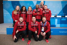 Summerside native Heather Moyse, standing, left, poses with the members of Team Canada's bobsleigh team for the 2018 Winter Olympics during a media conference on Feb. 6. Moyse will team with Alysia Rissling in the two-woman competition that takes place on Tuesday and Wednesday. David Jackson/Canadian Olympic Committee