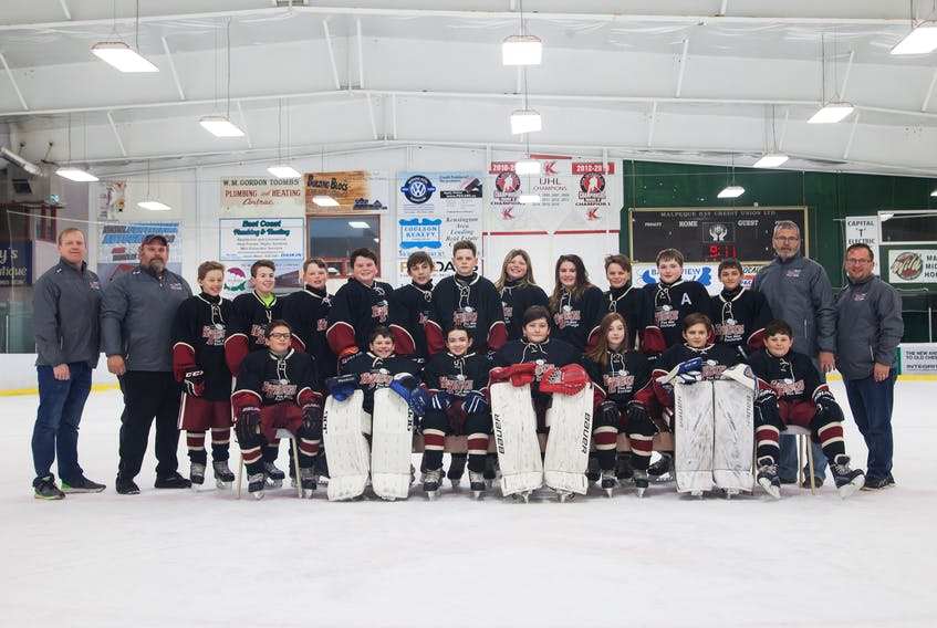The first half of the 50th Kensington, P.E.I.-Bedford, Que., Peewee Friendship Hockey Exchange will take place in the Kensington area this weekend. Members of the Kensington team are, front row, from left: Landon Duffy, Kaelan Wood, Kristyn Taylor, Alex Clark, Maya Grace MacEwen, Kale Hunter and Jackson Rogers. Back row: Scott White (assistant coach), Trevor Moase (assistant coach), Tyson McCardle, Luke Gallant, Matthew White, Brandan Moase, Morgan Gaudet, Ty Sherry, Trinity Somers, Emma Ellsworth, Jase Sherry, Ryan Cash, Dallas Hughes, Chris McCardle (coach) and Aaron Rogers (trainer).