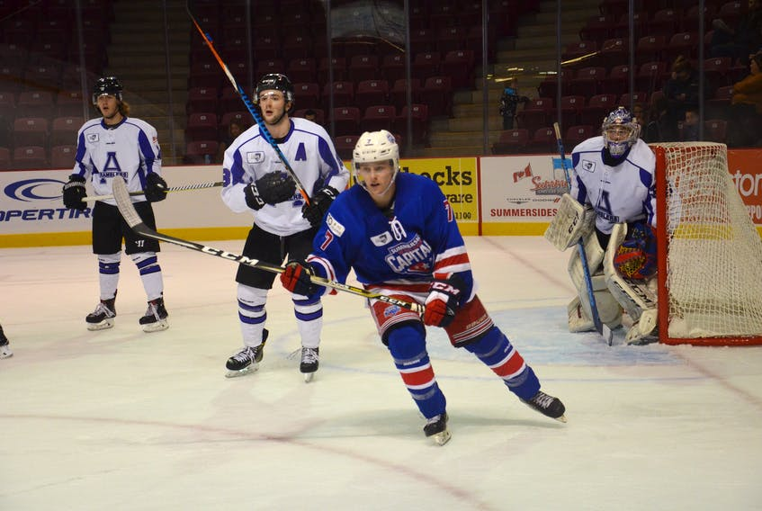 Summerside D. Alex MacDonald Ford Western Capitals forward Austin Taylor, 7, was named the first star of Thursday night's MHL (Maritime Junior Hockey League) game against the Pictou County Crushers. The Caps won the contest 5-2.