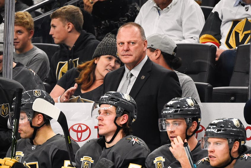 Vegas Golden Knights head coach and Summerside native Gerard (Turk) Gallant looks on from the bench during a 2018-19 National Hockey League game. The Golden Knights will open the Stanley Cup Final series Monday night. Photo courtesy of Jeff Bottari/Vegas Golden Knights.
