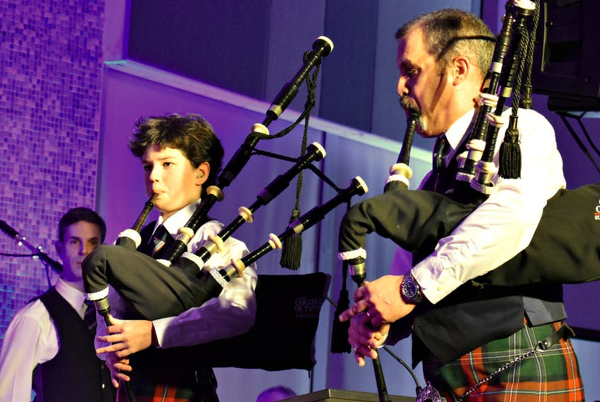 Bagpipers from the College of Piping, James MacHattie, left, Conall Gibson, and Carl Brydon entertain guests at a recent fundraiser for the Summerside college.