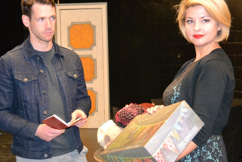 """Klara Novak (Teresa Wright) and Alfred Kralik (Adam Gauthier) appear in a rehearsal scene for ACT's production of """"The Shop Around the Corner"""". The show runs Nov. 16-18 at The Guild in Charlottetown. SALLY COLE/THE GUARDIAN"""