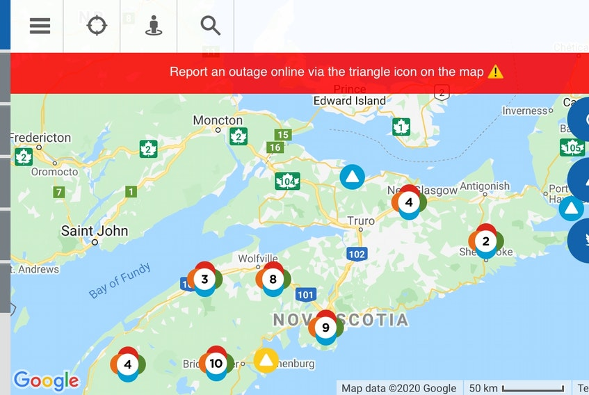 Nova Scotia Power Outage map early Friday afternoon