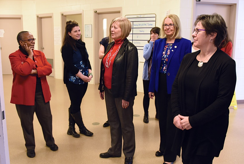 Senator Wanda Bernard is seen speaking with senior staff and administrators at the East Coast Forensic Hospital in Dartmouth, during her tour of the facility this week. The senator is chair of the Senate's Human Rights Committee, which is undertaking a national study of Canada's federal prisons.