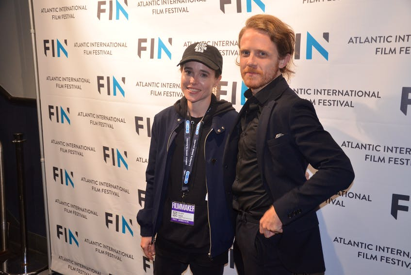 Filmmakers Ellen Page and Ian Daniel arrive at the Atlantic film festival before Saturday night's screening of There's Something in the Water.