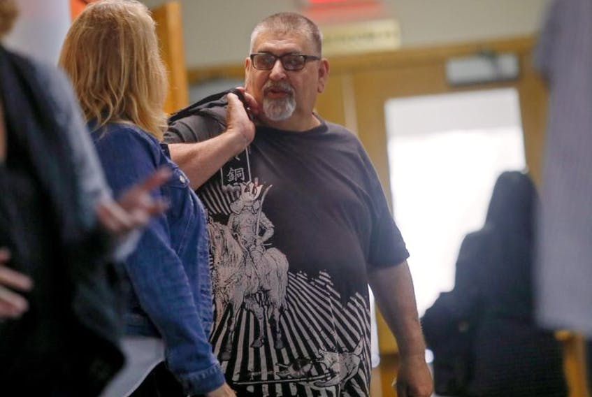 Paul Francis Monahan of Ostrea Lake, a hang-around member of the Hells Angels Motorcycle Club's Nomads chapter  in New Brunswick, is shown outside Dartmouth provincial court in September 2019. Monahan is still awaiting sentencing on drug conspiracy charges.