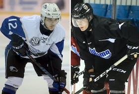 Saint John Sea Dogs sophomore forward Brady Burns, left, and Charlottetown Islanders rookie defenceman Oscar Plandowski played on the same line together while playing atom AAA hockey in Nova Scotia.