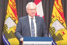 New Brunswick Premier Blaine Higgs announces an urgent nursing home placement process during a press briefing on Tuesday, one of the measures introduced by the provincial government to help reduce the spread of COVID-19.
