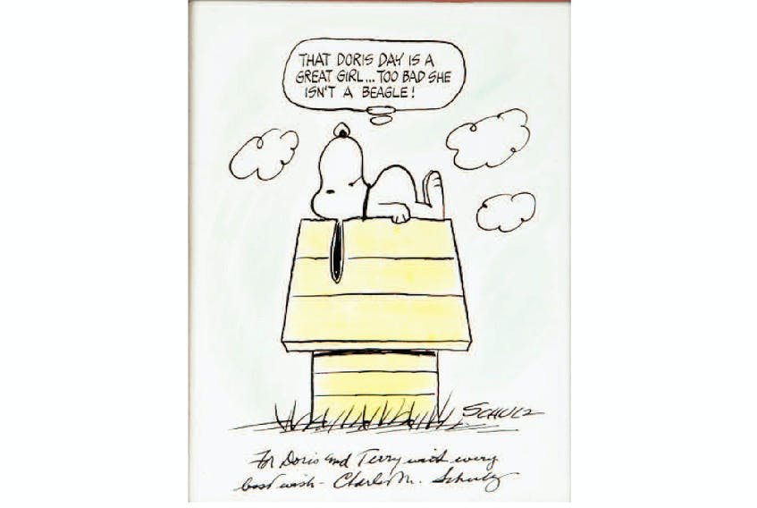 A Peanuts sketch drawn and inscribed to Doris Day and her son Terry by the artist, Charle Schultz. From the Julien's Auctions catalogue.