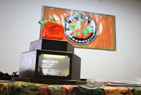 The coveted giant pumpkin trophy was on display inside the Millville Community Centre.
