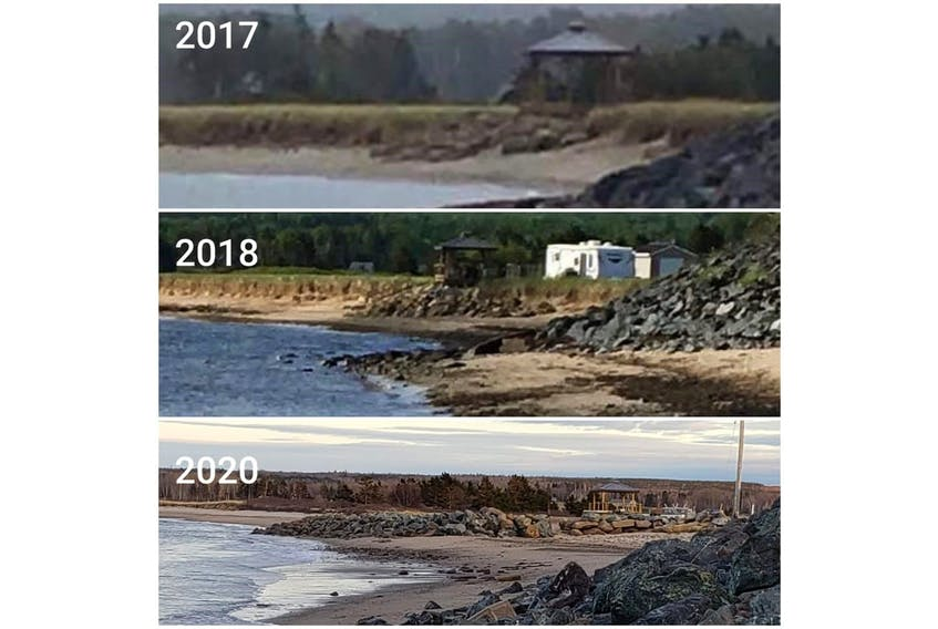 This photo compilation provided by the Black Point Preservation Group shows pictures of the wall as they say it looked in 2017, 2018 and 2020.