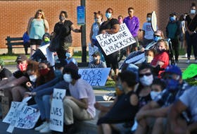 A crowd of about 500 people gathered outside Captain William Spry Community Centre for a Black Lives Matter rally on Wednesday, June 17.