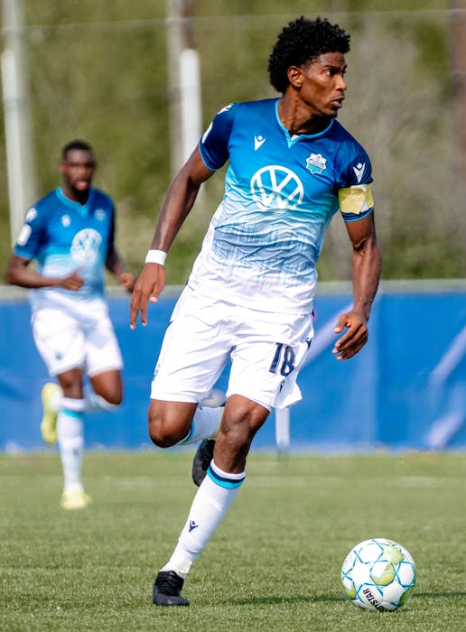 HFX Wanderers captain Andre Rampersad surveys the pitch during Canadian Premier League play last summer at the Island Games in Charlottetown. - HFX Wanderers