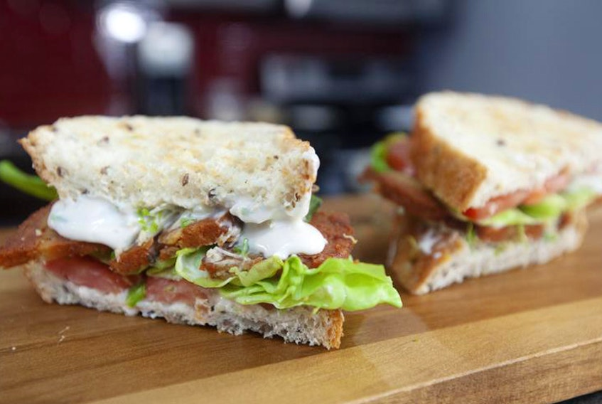 The finished 'bacon,' lettuce and tomato sandwich from the Halifax-based vegan butcher, Real Fake Meats.
